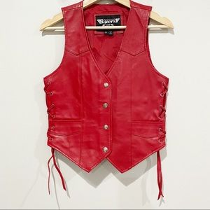 BIKER'S CLUB Red Leather Concealed Carry Vest